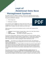 Relational Data Base Management System