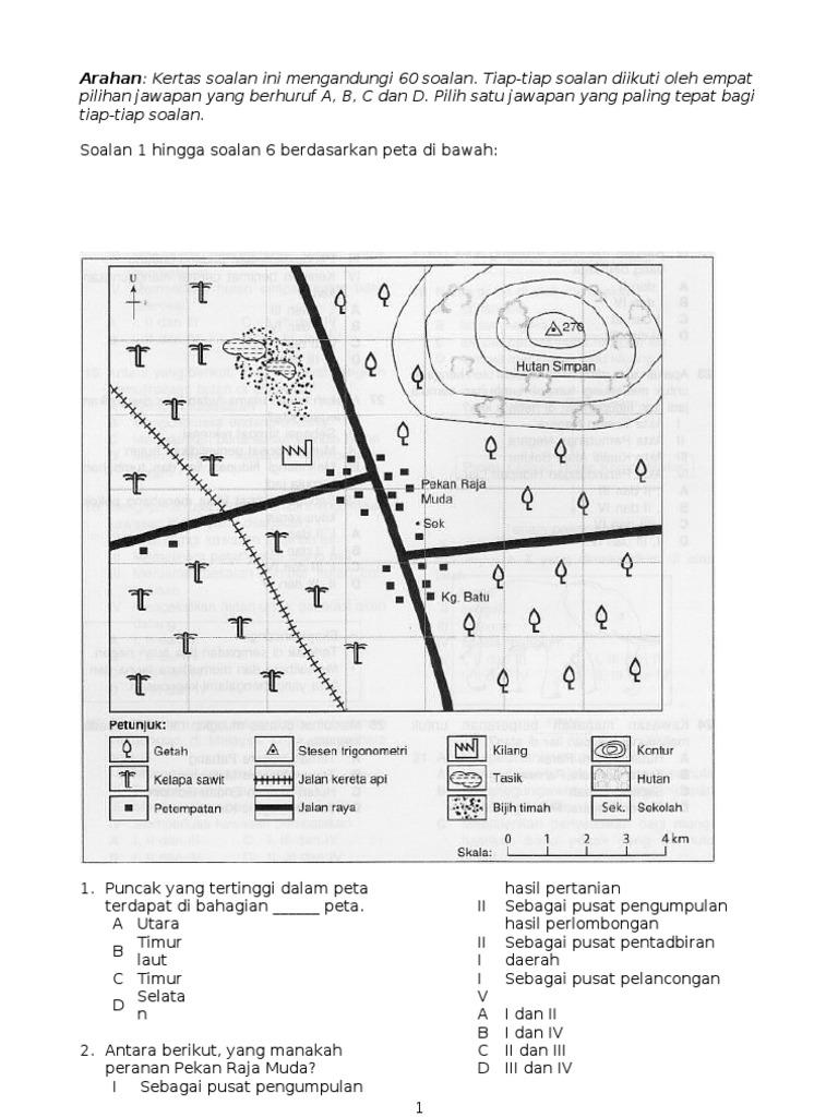 Soalan Peperiksaan Akhir Tahun Geografi Tingkatan 1