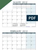 Blank 2012 Monthly Calendar Ocean Landscape Ms