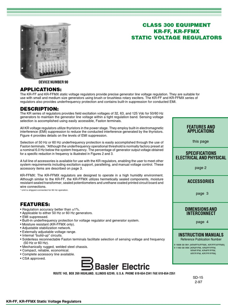 BASLER KR4FFMX_AVR,   Electric Generator   Electromagnetic Interference   Basler Generator Wiring Diagram      Scribd