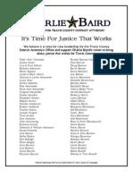 Charlie Baird Supporter List, Revised Jan 3, 2012