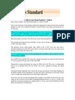 Business Standard_Sept 11, 2008_Market Slowdown Affects Merchant Bankers' Wallets