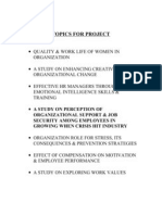 Topics for Project