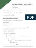 Resumen sobre ecuaciones diferenciales de primer y segundo orden con ejercicios resueltos