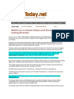 SindhToday_Sept 17, 2008_Markets Reel as Lehman Collapse Sends Russian Markets Crashing