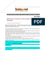 SindhToday_Sept 22, 2008_Markets Close Nearly Flat as Traders Grapple With Data