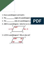 1/3/2012 Geometry Parallelograms
