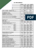 Fee Schedule 2011 as at Nov 2011