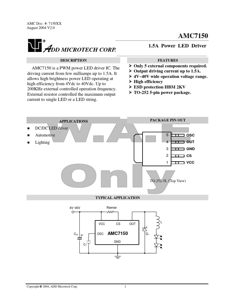 amc7150 electric current capacitorHighefficiency Current Drive For Highbrightness Leds Application #14