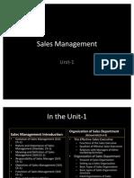 Sales Management Unit 1 Part 1