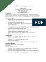 Sample Information Technology Lecturer Resume