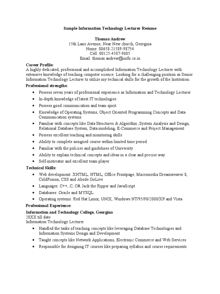 Sample Information Technology Lecturer Resume   Microsoft Access ...