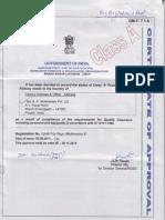 AKM Class a Foundry Certificate