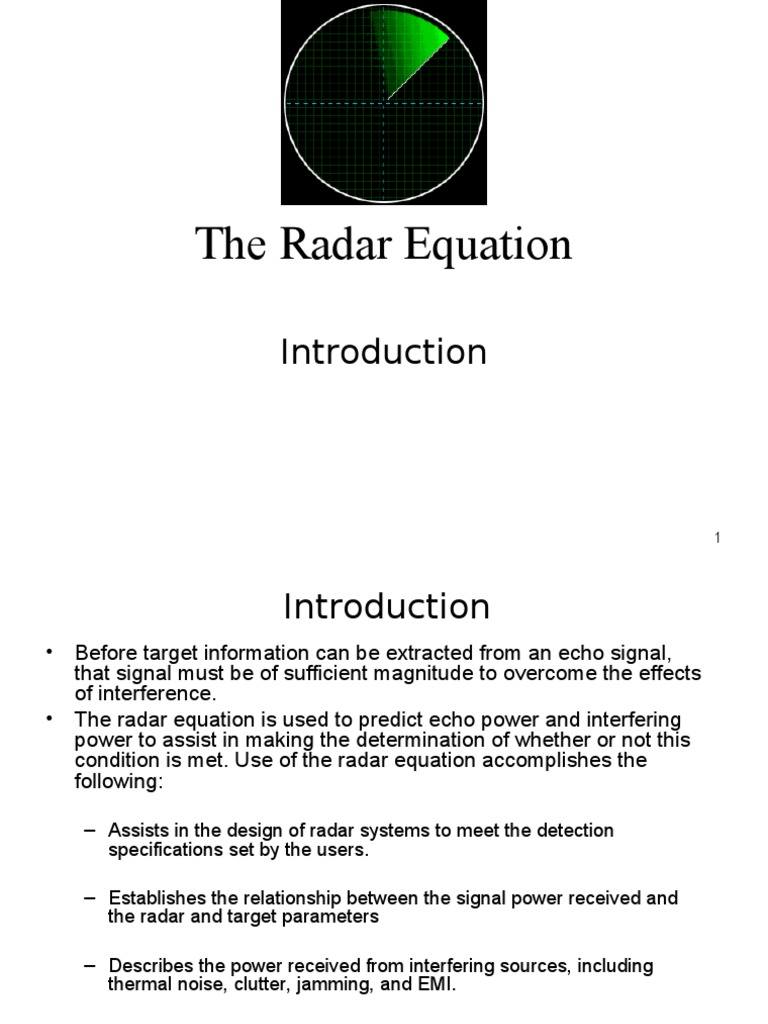 Radar Equation | Radar | Antenna (Radio)