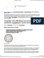 "CA judge rules Muslims harassing Jewish students engaging in ""protected speech"""