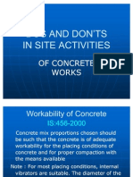 Dos &Don'Ts in Concrete Works