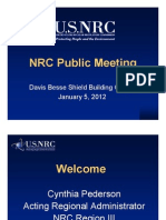 NRC Public Meeting Public Meeting Davis Besse Shield Building Cracks January 5, 2012