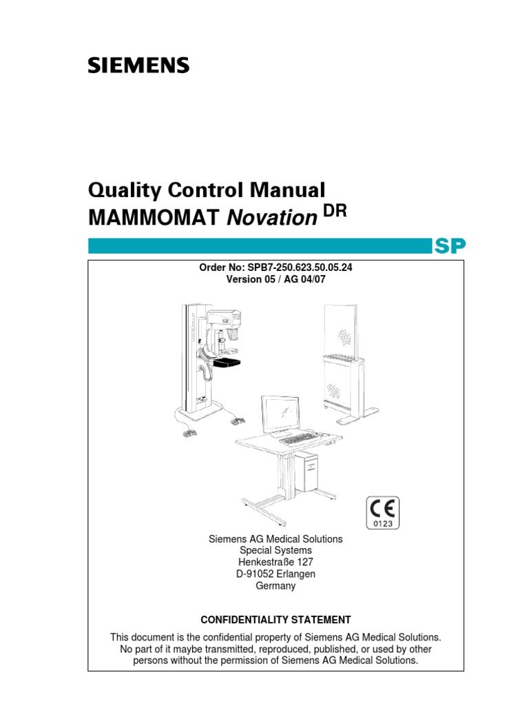 Siemens MAMMOMAT Novation DR Quality Control Manual   Signal To Noise Ratio    Calibration
