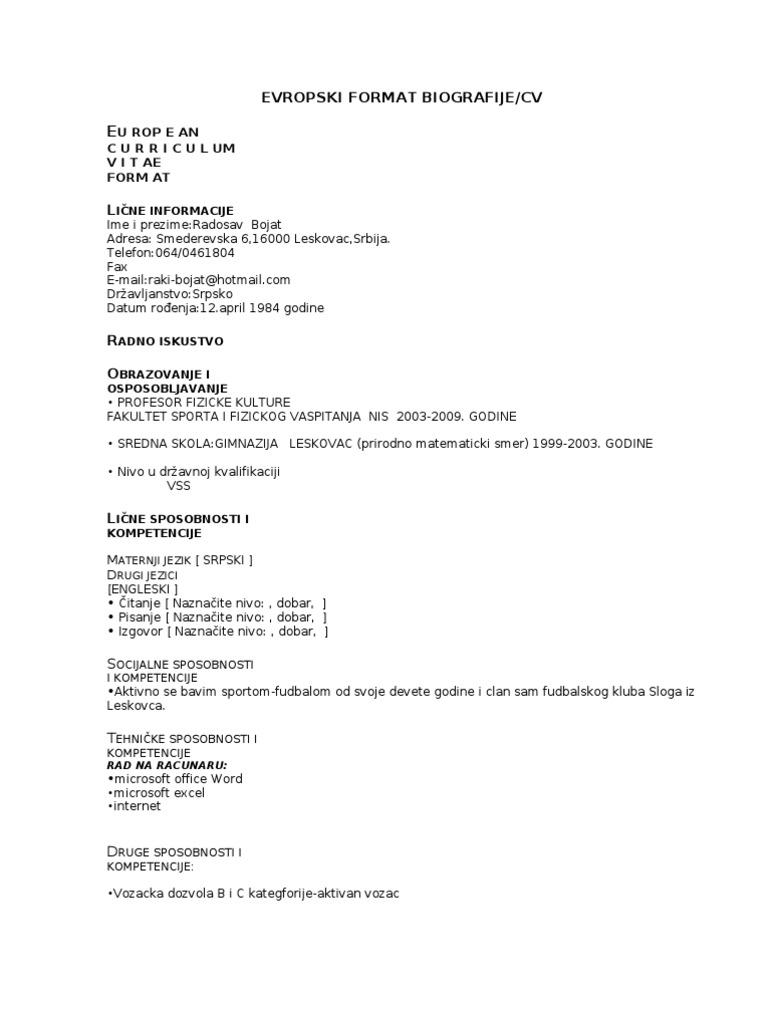 Evropski Format CV