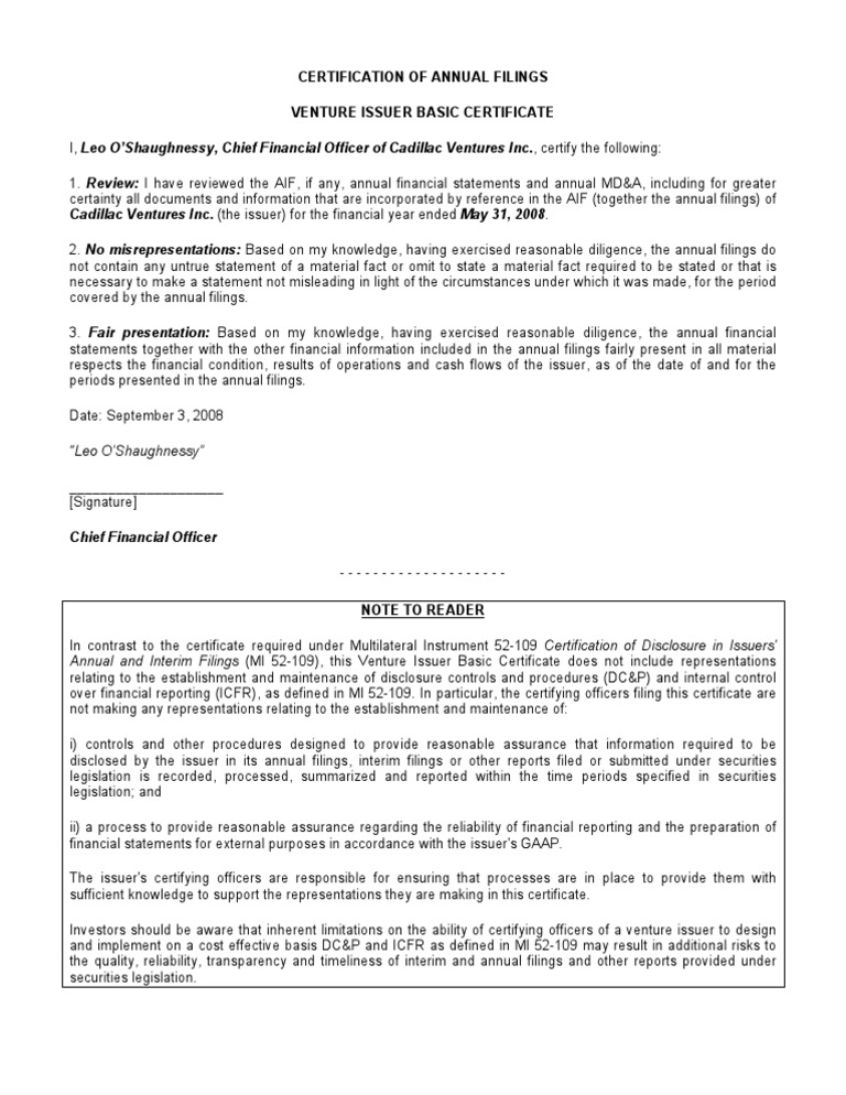 Certification Of Annual Filings Venture Issuer Basic Certificate I