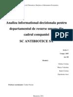 Analiza Informational-Decizionala Pentru Departamentul de Resurse Umane Intr-o Organizatie Economica