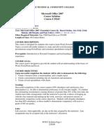 Microsoft Office 2007 Syllabus