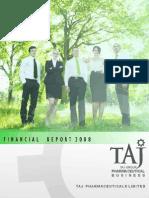 Financial Report 2008 - Taj Pharmaceuticals Group