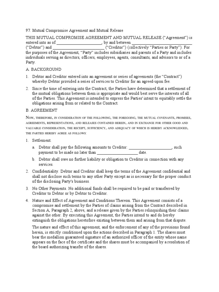 Mutual Compromise Agreement And Mutual Release Damages Consideration