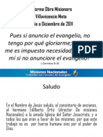 INFORME MISIONERO Villavicencio - Segundo Semestre 2011