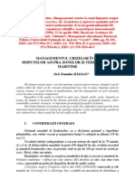 Managementul Crizelor in Cazul Disputelor Asupra Zonelor Si Teritoriilor Maritime (Crisis management in the case of disputes over maritime zones and territories)