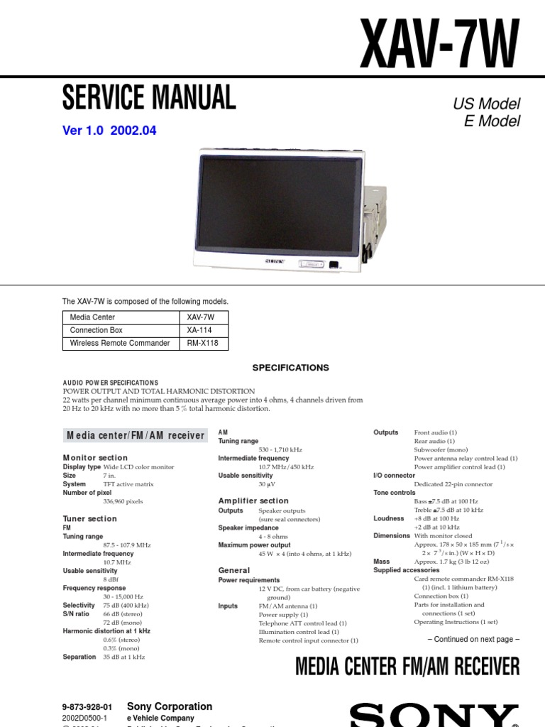 Sony Xav 70bt Wiring Diagram Library For Xplod Head Unit Along With 7w Service Manual And Schematic Loudspeaker Electrical