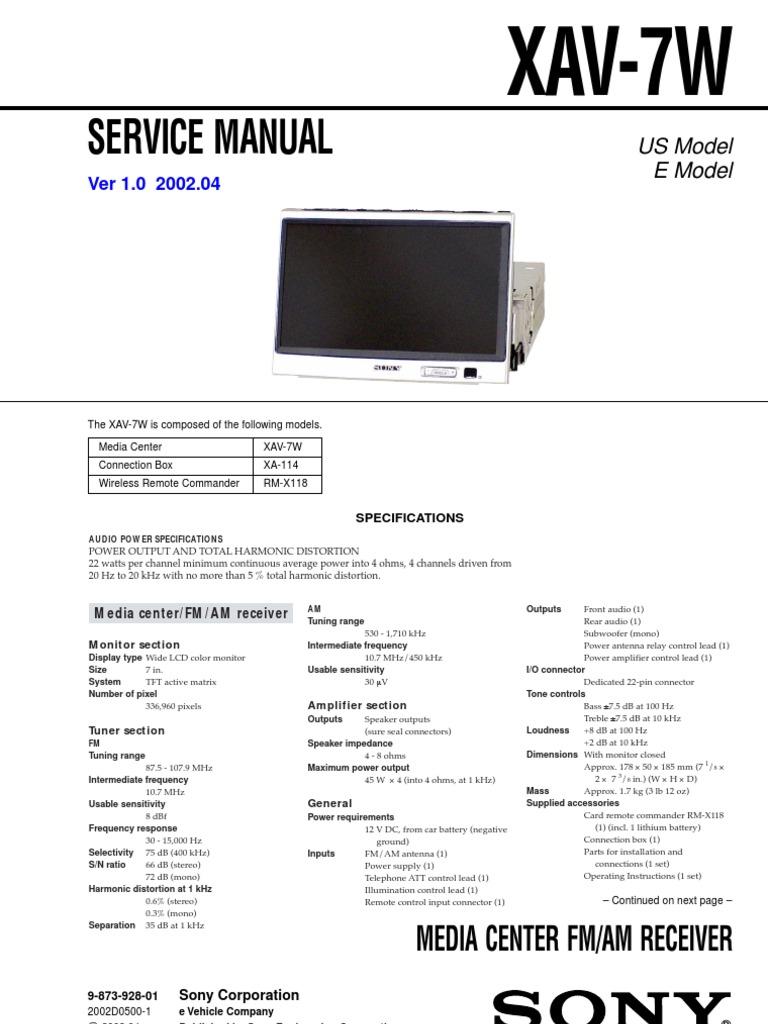 sony xav 7w service manual and schematic loudspeaker electrical Sony Xplod Wiring Harness sony xav 7w service manual and schematic loudspeaker electrical wiring
