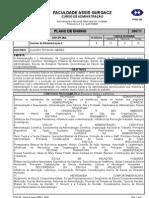 Plano Ensino Teorias Da Administracao I - 2007 - 1 Semestre