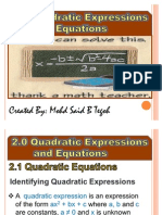 Chapter 2 Quadratic Expressions and Equations