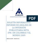 Boletín Informativo INVERSIÓN PUBLICITARIA 2009