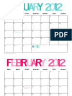 The Twinery - 2012 Printable Calendar