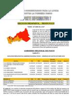 Reporte 7 - 2010 - Ejecucion Presupuestal Region Pasco, Enero Octubre 2010
