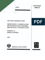 Covenin 2000-2-1999. Edificaciones, parte 1