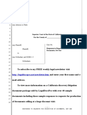 Sample Responses to Requests for Production of Documents for
