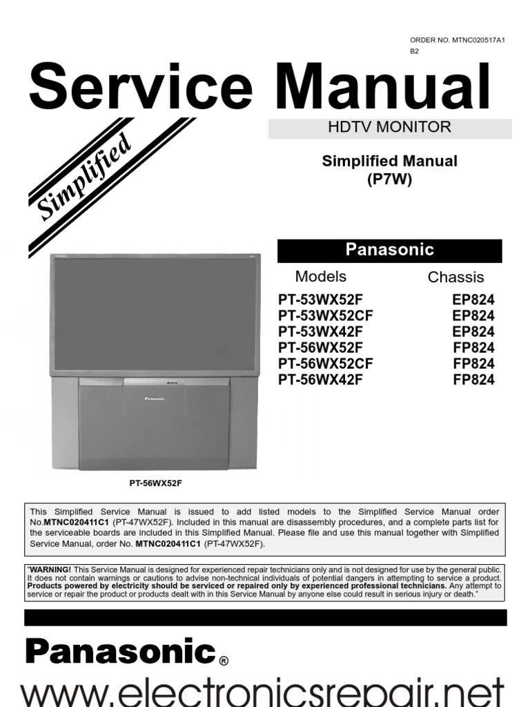 panasonic pt 53wx42f service repair manual ep824 soldering rh es scribd com panasonic phone model kx-tga931t owners manual Manual Panasonic Radio