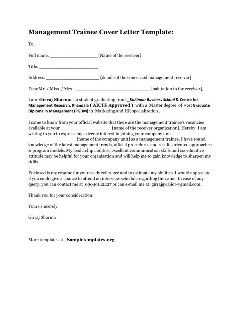 Management trainee cover letter 1534228670v1 spiritdancerdesigns Gallery