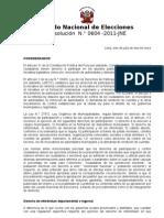 Resolución  N.° 0604 -2011-JNE