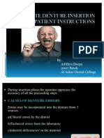 Complete Denture Insertion and Patient Instructions