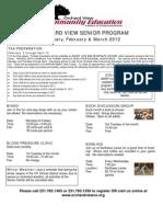 Senior Programs  - Jan/Feb/March 2012