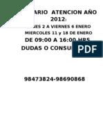 HORARIO  ATENCION AÑO 2012