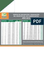 Tarifas de Inscripcion y Renovacion Del Registro 2012