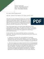 Letter to Bethlehem Town Board
