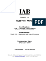 104 Level 1 Certificate in Book-Keeping Jan 2009 Question Paper