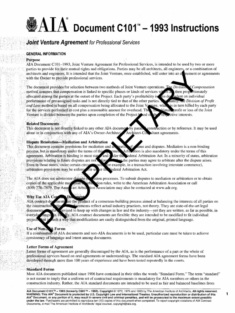 standard form joint venture agreement  9]AIA Sample Joint Venture Agreement | Copyright | Arbitration
