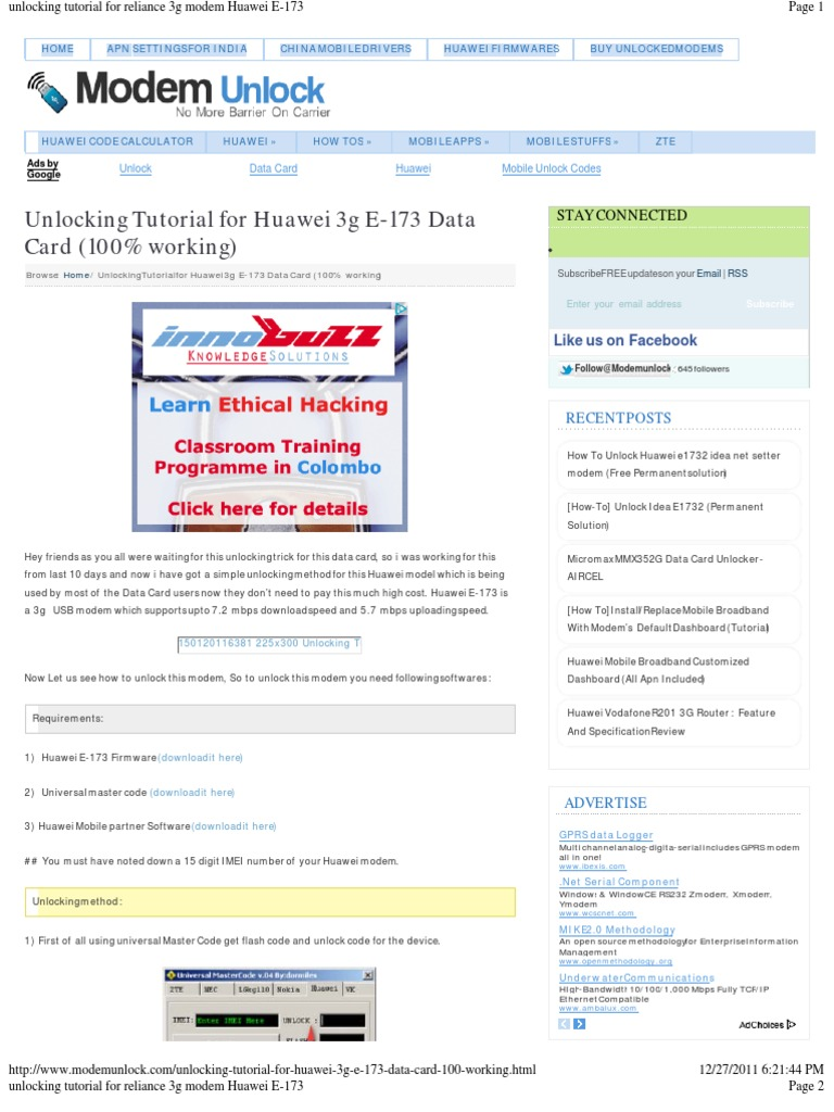 huawei e173 | Subscriber Identity Module | Modem